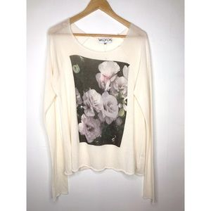 Wildfox White Knitted Roses Long Sleeve